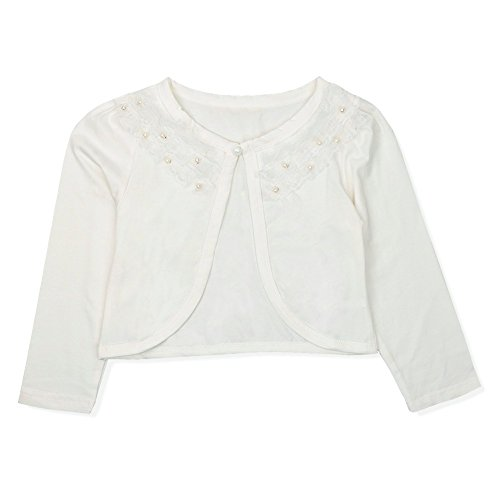TiaoBug Girls Beaded Lace Flower Bolero Jacket Shrug One Button Closure Pearls Cardigan Sweater Church Dress Cover UP Ivory White 5-6