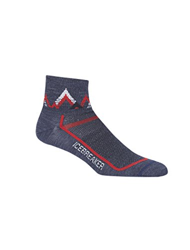 Icebreaker Merino Men's Multisport Ultra Light Mini Socks, Fathom Heather/Rocket, Large
