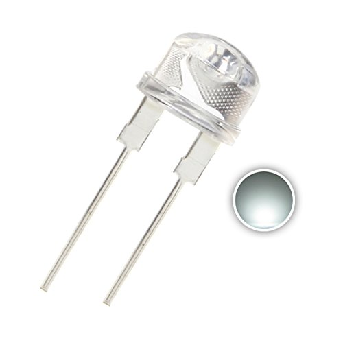 Chanzon 50 pcs 8mm White LED Diode Lights (Clear Straw Hat Transparent DC 3V 250mA 0.75W) High Intensity Super Bright Lighting Bulb Lamps Electronics Components Light Emitting Diodes from CHANZON