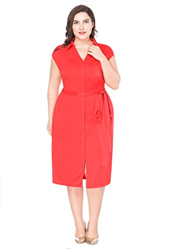 Mf Womens Plus Size Elegant V Neck Collar Sleeveless Belted