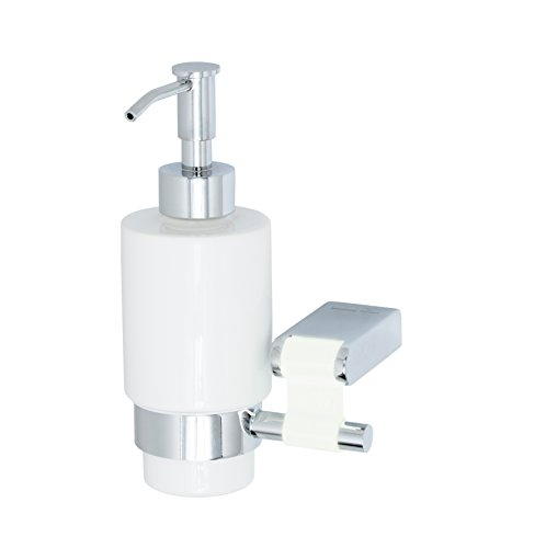 Iris Wall Soap Dispenser, Brass Polished Chrome & White Ceramic Bottle, Wall Mounted, Bathroom Accessories, Made in Spain (European Brand) (White) by Manillon Torrent