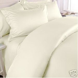 Elegance Linen ® Wrinkle-Free- 1500 Thread Count FULL/QUEEN Size Egyptian Quality 3pcs DUVET COVER SET, Solid, Ivory (Queen Duvet Cover Set Ivory)