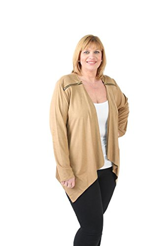 Womens Size Waterfall Camel Suede New GirlTalkFashions Jacket Zip Detail Plus dtIxOU