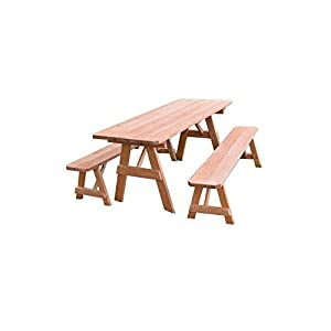 Kunkle Holdings LLC Pressure Treated Pine Picnic Table with Detached Benches Cedar Stain- 4,5,6 or 8 Foot 4