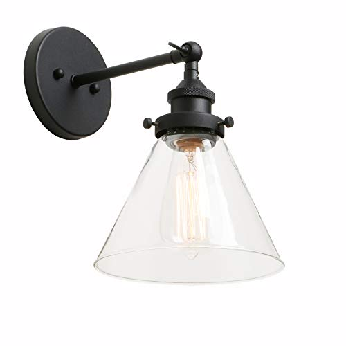Phansthy 1-Light Industrial Wall Light 7.3 Inch Oval Cone Canopy Retro Sconce Light Fixture e (1-Light Clear)