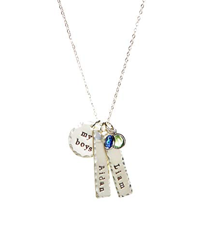 (My Boys Personalized Name Necklace - Genuine Sterling Silver By Hannah Design Best Seller! Mother's Day Gift for Moms, Grandmother, Aunts, Friends)
