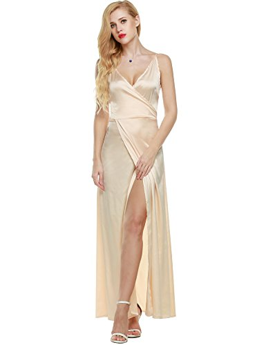 ANGVNS Women Strap Sleeveless Split Side Evening Dress Long Evening Gown, Size Large, (Satin Long Dress)