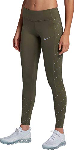 NIKE Women's Racer Flash Running Tights (Olive Canvas, Small)