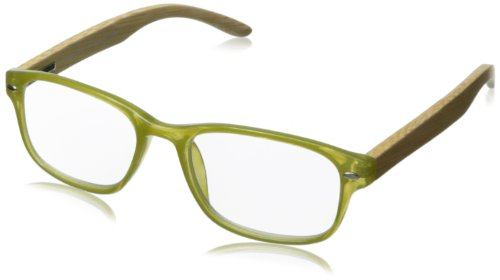 Peepers Bravo Bamboo Wayfarer Reading Glasses,Green,+1.5