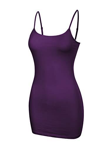 - Design by Olivia Women's Women's Basic Solid Long Length Adjustable Spaghetti Strap Tank Top Ultra Purple L