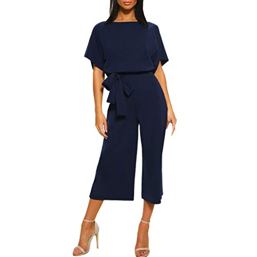Tantisy ♣↭♣ Women's Elegant High Waist Short Sleeve Jumpsuit Casual Wide Leg Pants Loose Rompers with Belt Navy