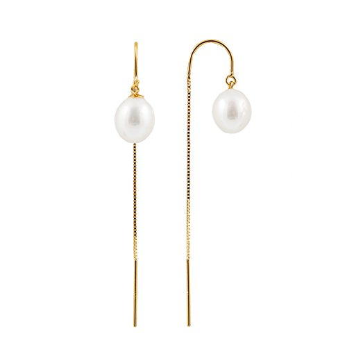 14K Yellow Gold U- Threader Drop Earrings with Quality AA 7.5-8mm White Freshwater Cultured Pearls in ()