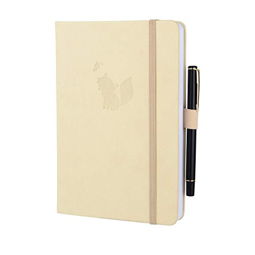 SEQES Hardcover Dot Grid Notebook with Pen, A5 Thick Writing Sketching Journal Notebook with Pen Loop, Faux Leather Dotted Notebook, 5.7