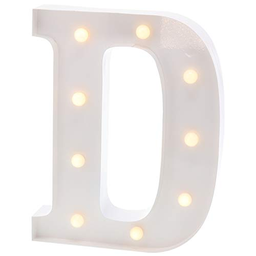 """Barnyard Designs Metal Marquee Letter D Light Up Wall Initial Wedding, Bar, Home and Nursery Letter Decoration 12"""" (White) (Symbol Switch)"""