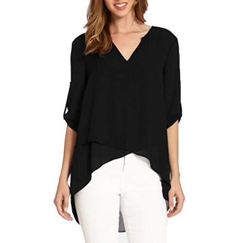 Yoyorule Autumn Pullover Top Women V-Neck Cropped Sleeves Can Be Sleeved Irregular Loose Chiffon Shirt Blouse Black (Mock Crocodile Belt)