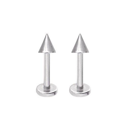 EG GIFTS Cone Monroe Lip Stud labret Spike Piercing 14g 3/8 (10mm) Surgical Steel Pair
