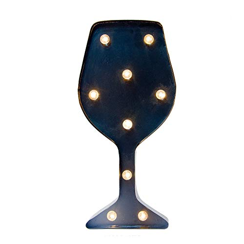 Glitzhome Vintage Marquee LED Lighted Wine Glass Sign Wall Decor Battery Operated Blue