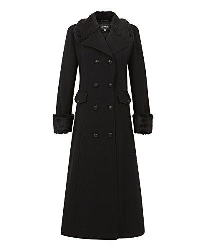 De La Creme – Black Women`s Winter Wool Cashmere Military Coat Faux Fur Collar Size 10