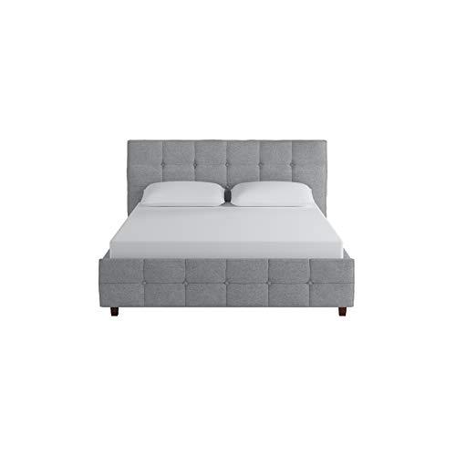 DHP 4029409 Rose Linen Tufted Upholstered Platform Bed, Queen, Gray