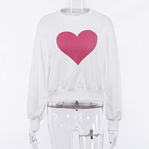 et Rond Automne Printemps Shirts Manches Casual Top Imprim Femmes Sweat Pulls Pullover T JackenLOVE Hauts Amour Blanc Col Jumpers Tees Longues Fashion Shirts Blouse nApZIW