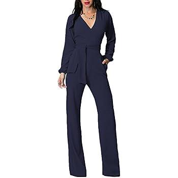 70a8b41946cd IyMoo Womens Jumpsuits Elegant Button Loose Long Wide Leg Jumpsuits Romper  Royal Blue Medium