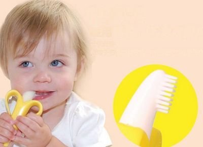 Large Product Image of Baby Banana Infant Training Toothbrush and Teether, Yellow