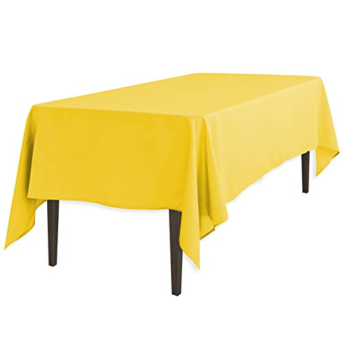 LinenTablecloth 60 x 102-Inch Rectangular Polyester Tablecloth Lemon