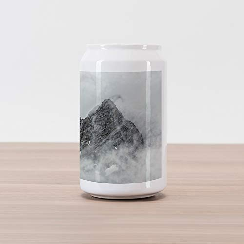 (Ambesonne Mountain Cola Can Shape Piggy Bank, Landscape of Jade Dragon Mountain Atmosphere on Summit Asian Natural Beauty Image, Ceramic Cola Shaped Coin Box Money Bank for Cash Saving, White Grey)