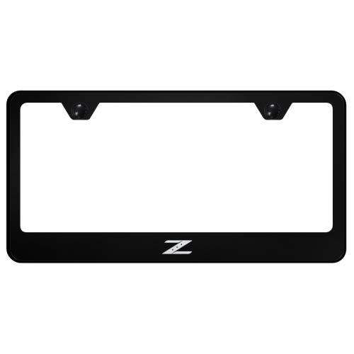 Nissan Z Laser Etched Frame Black Black Gloss License Plate Frame Au-Tomotive Gold INC