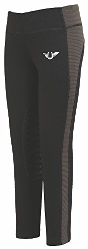 TuffRider Children's Ventilated Schooling Riding Tights|Color-BlackCharcoal|Size-Medium