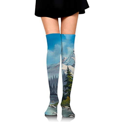 (Women Bob Ross Cascading Falls Prints Tube Socks Over The Knee Thigh High Stockings For)