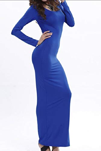 Solid Long Women Stretch Sapphire Neck Howme Blue Long Crew Dress Pullover Sleeve wEIqFFxd4