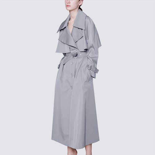 Las niñas Mayihang abrigo largo delgado de cintura suelta rodilla moda abrigo largo Gris oscuro