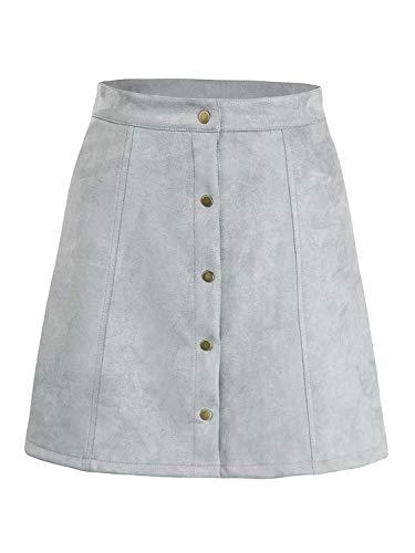 PERSUN Women's Faux Suedette Button Closure Plain A-Line Mini Skirt Grey (Grey Mini Denim Skirt)