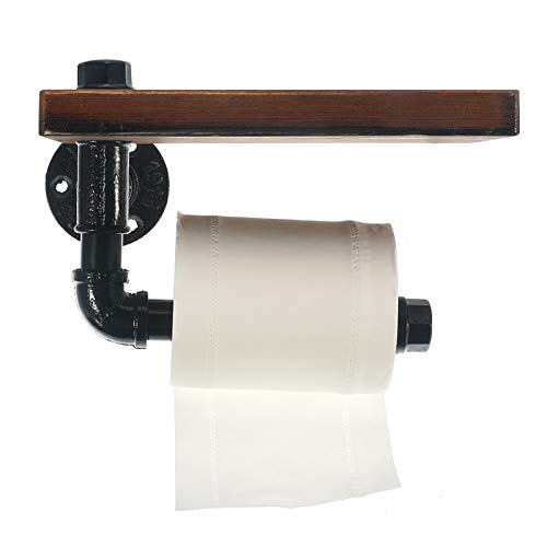 Trex125 Toilet Paper Holder Wooden Shelf Wall Mounted Bathroom Hotel Roll Paper Tissue