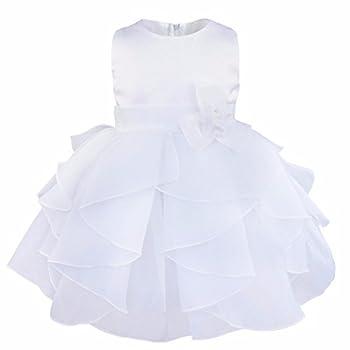 YiZYiF Baby Girls Flower Christening Wedding Birthday Ruffle Organza Tutu Dress White 6-9 Months