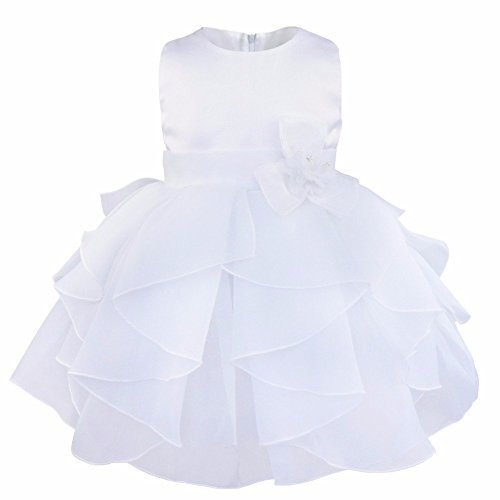 iEFiEL Infant Girl Babys Organza Tiered Birthday Flower Baptism Dress White 12-18 Months -