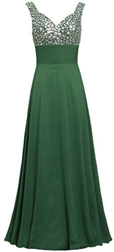 Da Serbatoio Vestito Delle Verde Lungo Scuro Di Cinghie Formiche Abiti Perline Donne Sera dEqgg