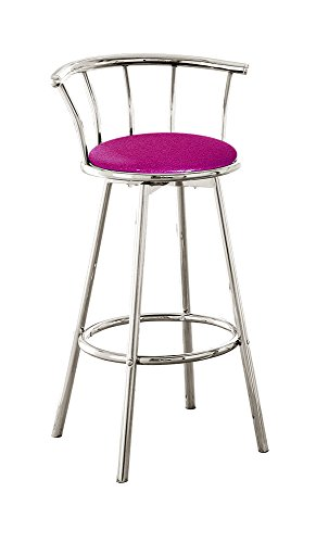 The Furniture Cove New 29″ Tall Chrome Metal Finish Swivel Seat Bar Stools with Hot Pink Vinyl Seat Cushions! For Sale