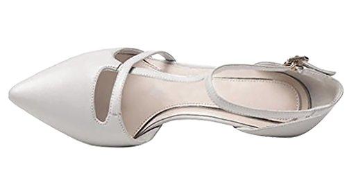 Calaier Damen Caseem 6CM Stiletto Schnalle Pumps Schuhe Elfenbein