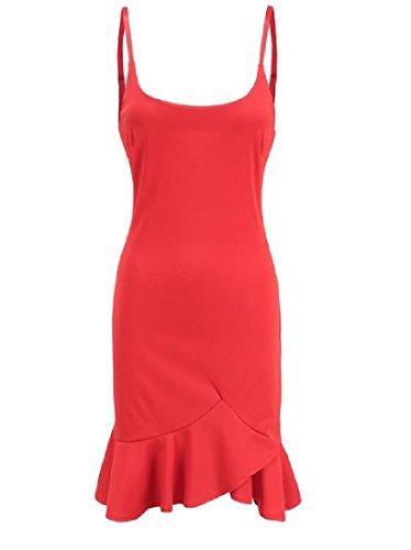 Slim Bodycon Hem Spaghetti Fit Women's Dress Comfy Flounced Strap Mini Red 5Uf0gqw