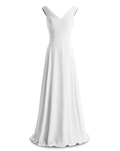 Evening Floor Ruched Dress Bridesmay V Bridesmaid Neck Dress Chiffon Ivory Length wI8q8Z