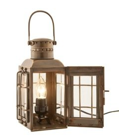Electric Hurricane Lantern Antique Brass Chiefs Lamp 10''- Nautical Decor