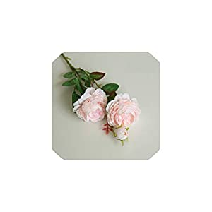 Fashion-LN 61cm Long European Artificial Flower 3 Head Home Silk Peony Wedding Flower Decorative 1pcs,10 12