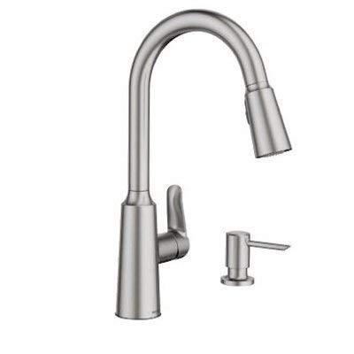 Moen 87028SRS Edwyn Spot Resist Sta Inless 1Handle Deck Mount Pulldown Kitchen Faucet, Stainless Steel by Moen