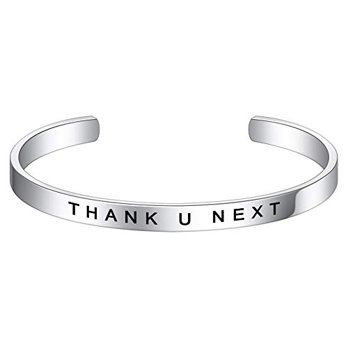 M MOOHAM Thank You Gifts for Women - Thank U Next Bracelet Moving Away Gifts for Friend Moving Away Gift for Coworker, Birthday Christmas Jewelry Stainless Steel Cuff Bangle Bracelet