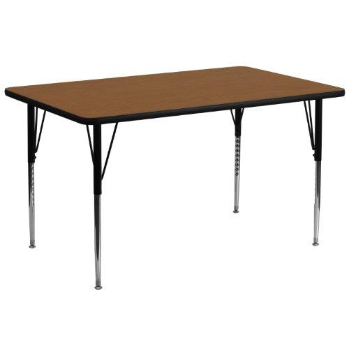 Height Oak (Flash Furniture 30''W x 72''L Rectangular Oak HP Laminate Activity Table - Standard Height Adjustable Legs)