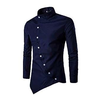 Cebbay Liquidación Camisa de Manga Larga para Hombres Inclinación de la Puerta en Cuclillas Irregular Cuello Delgado diseño Superior Camisa Camiseta(Armada, EU Size S = Tag M)