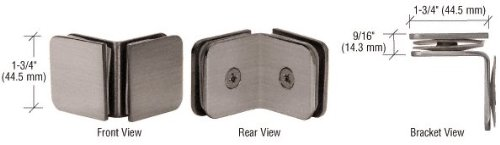 """C.R. LAURENCE GCB690BN CRL Brushed Nickel 90 Degree Junior Traditional Style Glass Clamp for 1/4"""" Gl"""