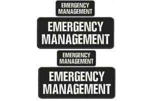 EMERGENCY MANAGEMENT TASK FORCE EMB PATCH 4X10 /& 2X5 HOOK ON BACK BLK//WHITE